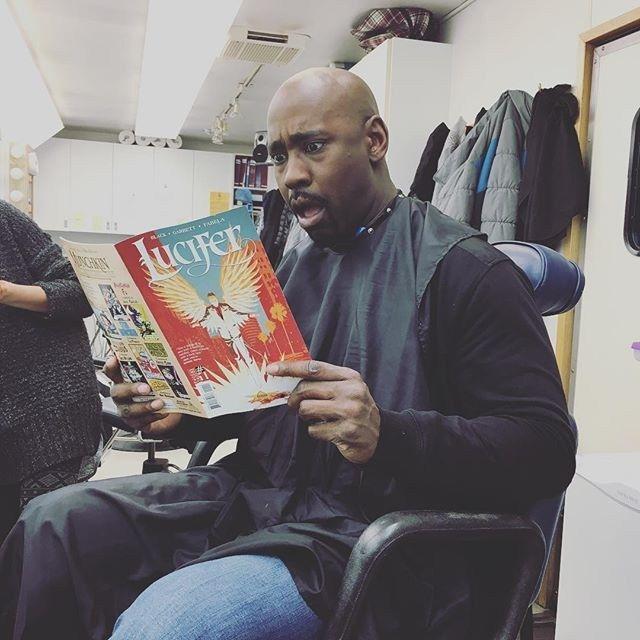 Amenadiel aka @db4real finally getting his first look at the new Lucifer Comic Book.