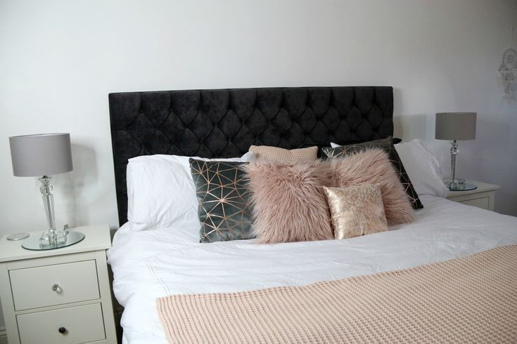 White Grey Pink And Rose Gold Bedroom Theme Gold
