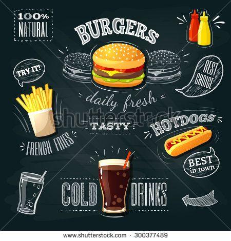 Chalkboard fastfood ADs - hamburger, french fries and hotdog. Vector illustration, eps 10.