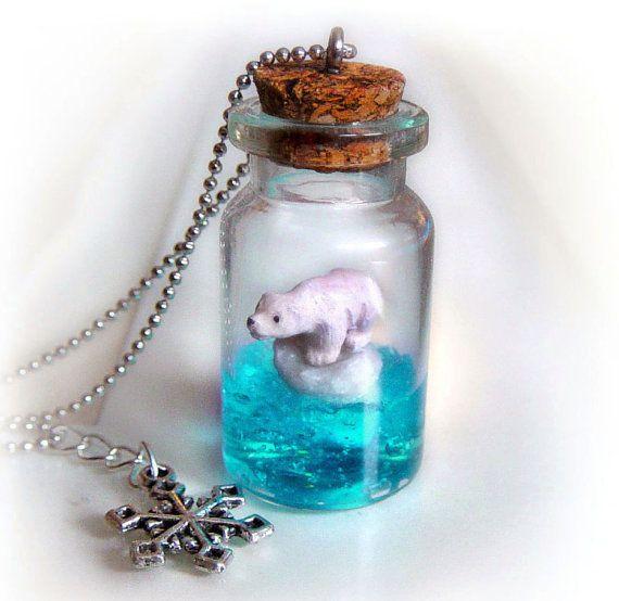 Polar bear bottle necklace, bottle pendant with a bear on a floating ice berg in the ocean scene