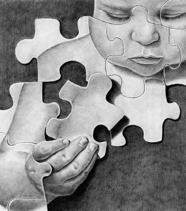 I love this image of the baby that has been dawn in graphite and in a jigsaw. This is definitely something i would like to experiment with; drawing fragments of people with a jigsaw as it clearly matches my theme.