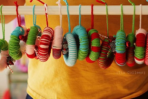 Tiny ornament wreaths-easy to make and a great way for me to use bits of yarn I have hanging around! Handmade Yarn Wreath Ornaments by christopherandtia, via Flickr.