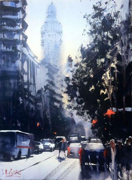 This painting is a view of  18 de Julio St. in Montevideo, Uruguay Alvaro Castagnet.