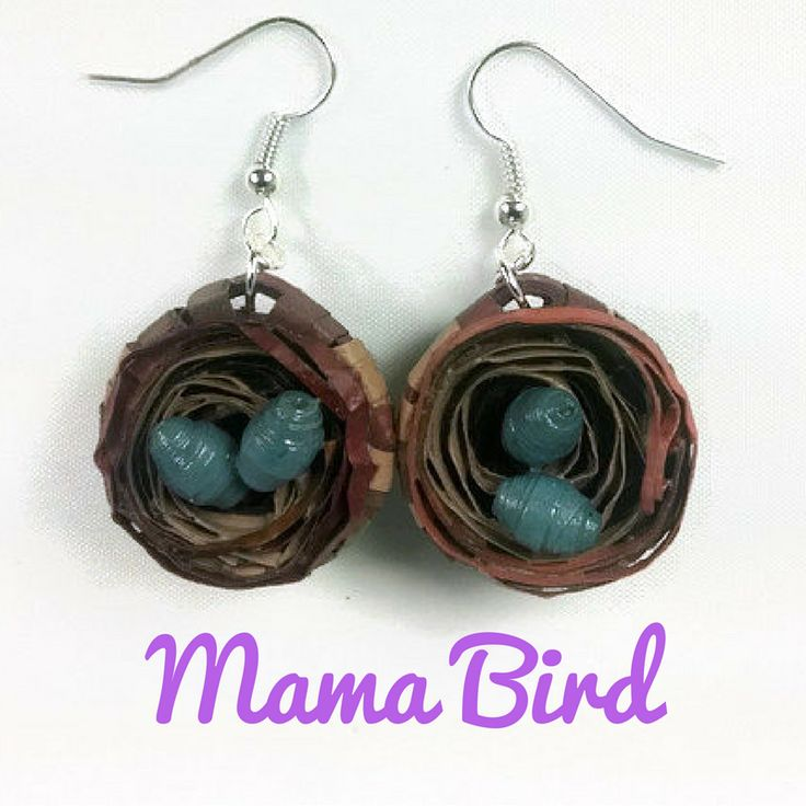 Birds #nestearrings with blue eggs handmade with paper quilling strips makes the ideal #giftformom or baby shower gift for new mom.  Ask for these with more or less eggs, in different colors, to honor mama bird and her babies. #mothersday