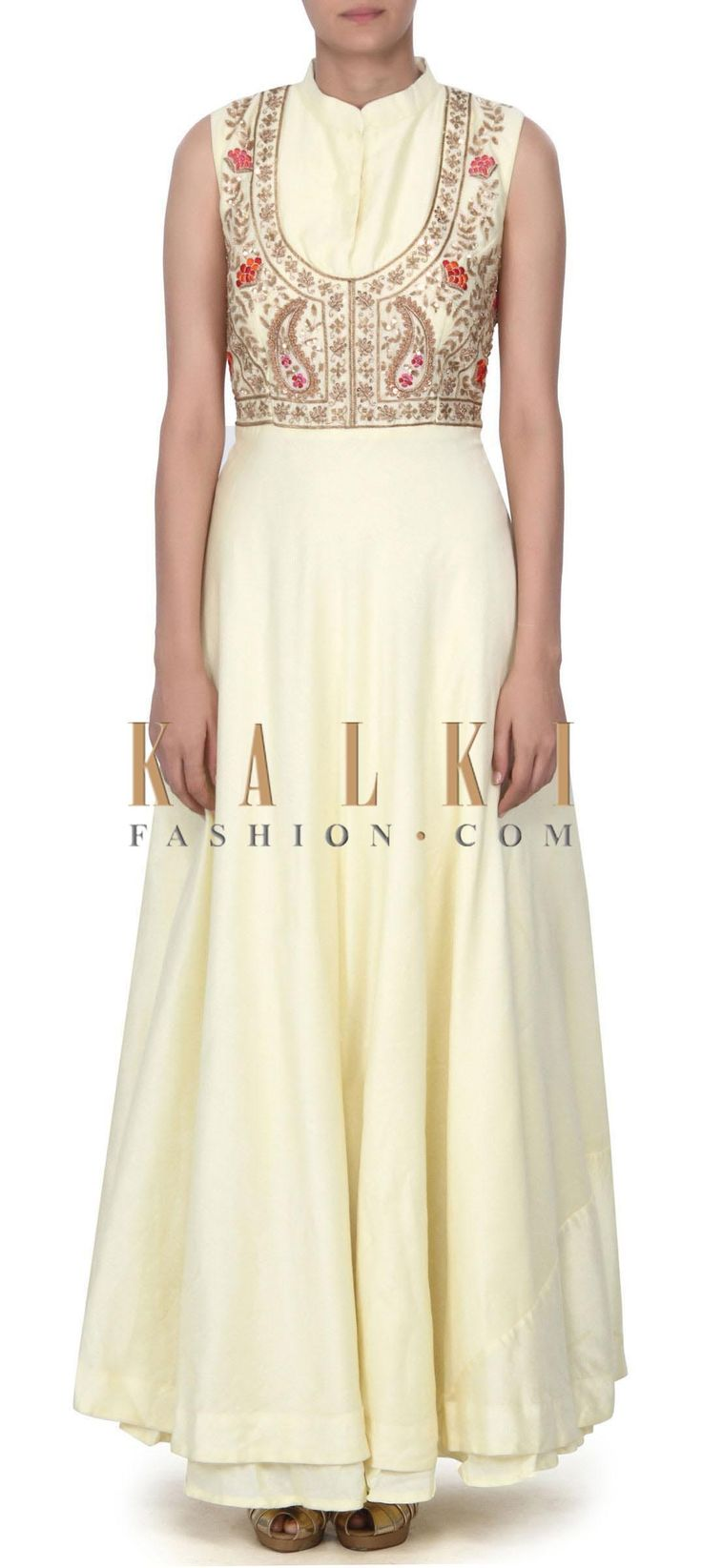 Buy this Lime yellow dress embellished in zardosi and sequin embroidery only on Kalki