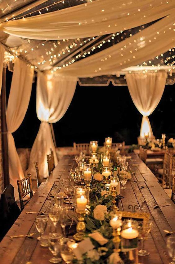 Loves Lighting, Loves Draping, LOVE LOVE LOVES table design w/ candlelight & greenery garland.