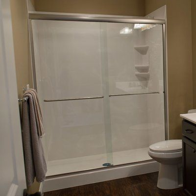 "White River Bath Bull Shoals 57.75"" x 60"" Bypass Shower Slider Trim Finish: Brushed Nickel, Glass Type: Obscured"