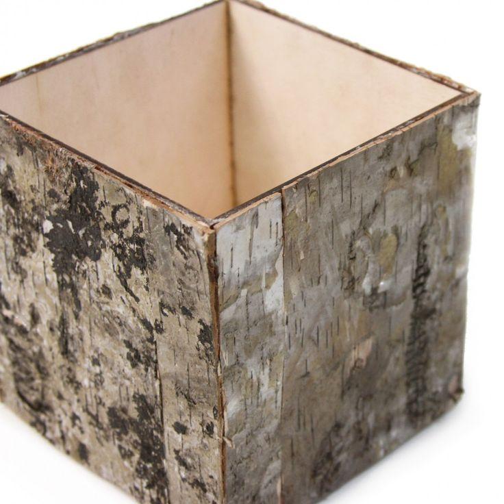 Natural Birch Bark Cube Vases 404464 Wholesale Wedding Supplies Discount Wedding Favors