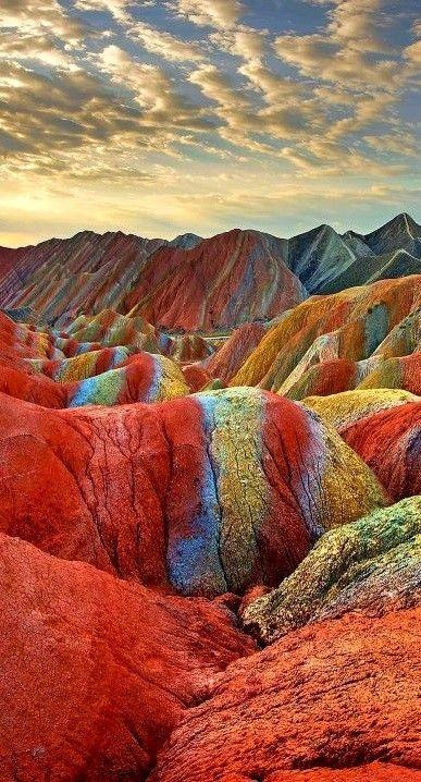 Montañas arcoiris en Gansu, China