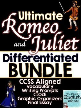 "Romeo and Juliet Teaching Unit: Teach William Shakespeare's classic drama, ""Romeo and Juliet,"" with this comprehensive, differentiated unit that includes guided writing prompts, CLOZE activities, character analysis, and vocabulary."