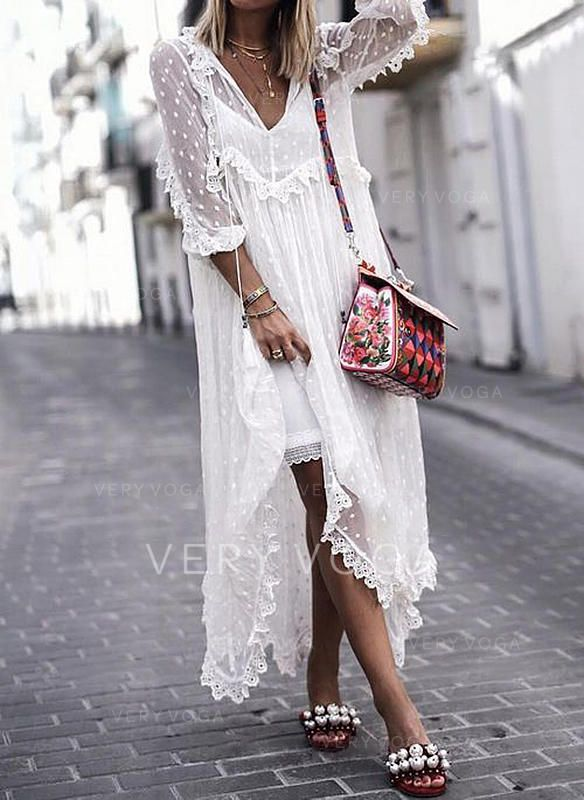 1894f7838deea8 Lace/Embroidery/Solid 3/4 Sleeves Shift Maxi Boho/Vacation Dresses ...