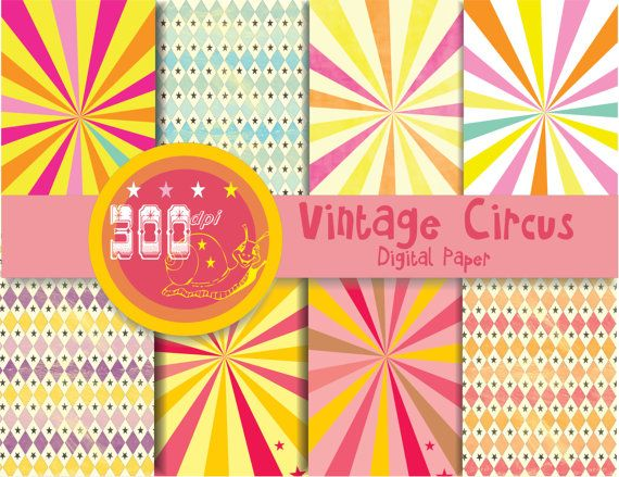 Vintage circus digital paper stripes carnival by GemmedSnail, $3.20