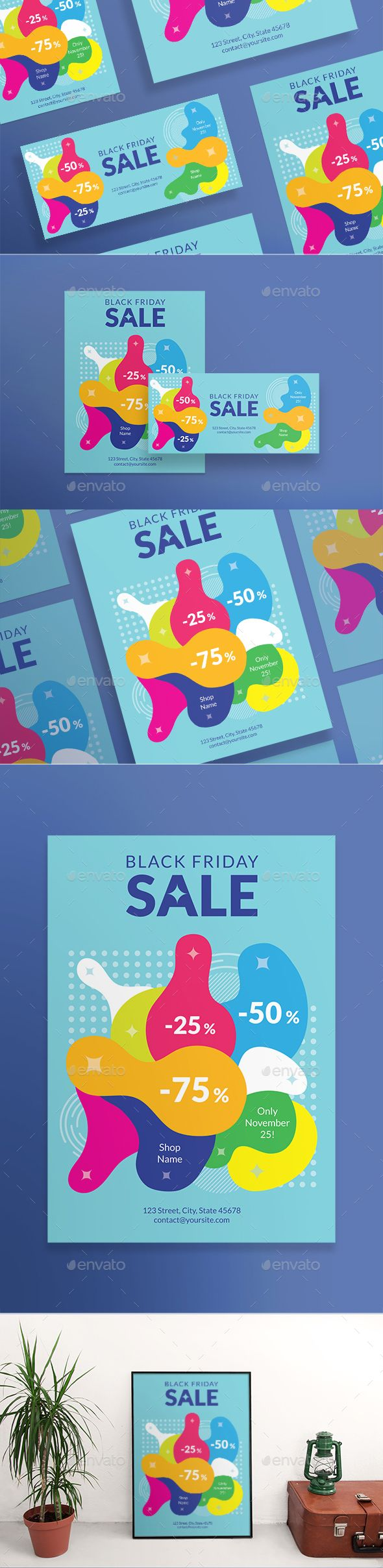 Black Friday Flyers A huge bundle of minimal, clean and professional flyers (US, Letter, DL and A5 formats) and posters (420x594 mm and 18x24 in US format). Easy to use and customize, with modern design ¨C universal and thematically specific ones. Flyer templates are excellent for promotion, invitation, beauty, fashion, business, restaurant, nightclubs and all kind of