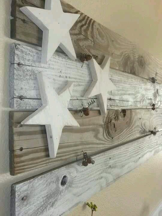 Rustic 4th of July decor. I like the muted, natural color but I think I may do a very light red & blue wash as well.