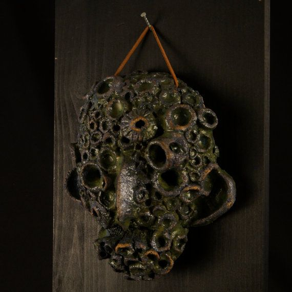 a Ceramic mask, made by Juri Etto, sold on Etsy. Ceramic, Stoneware, Sculpture, barnacle