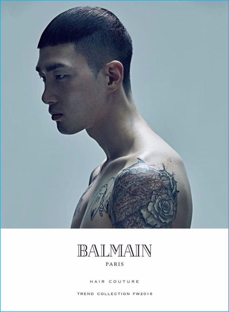 Korean model Noma Han showcases a modern hairstyle for Balmain's fall-winter 2016 hair trends book.