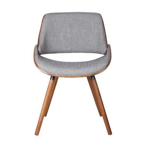 Walnut Plywood And Grey Fabric Dining Mid Century Style Chair With Solid  Wood Legs