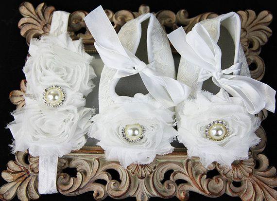 Туфельки для девочки на первые шаги и повязка на от IzabellaBABY