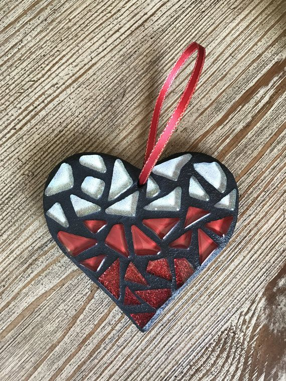 Glass Mosaic Heart Ornament Valentine's Day Gift by BlueOceanGlass