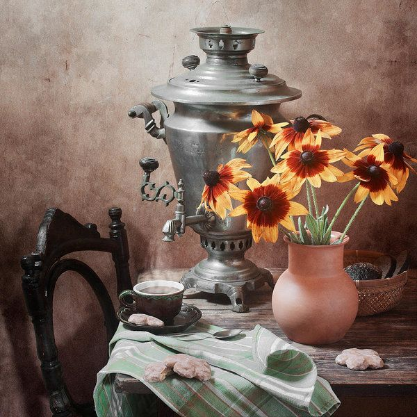 http://nikolay-panov.pixels.com/products/tea-party-nikolay-panov-art-print.html • Country still life photography with big old vintage samovar, cup of hot tea, rustic cookies and bouquet of bright yellow flowers in summer
