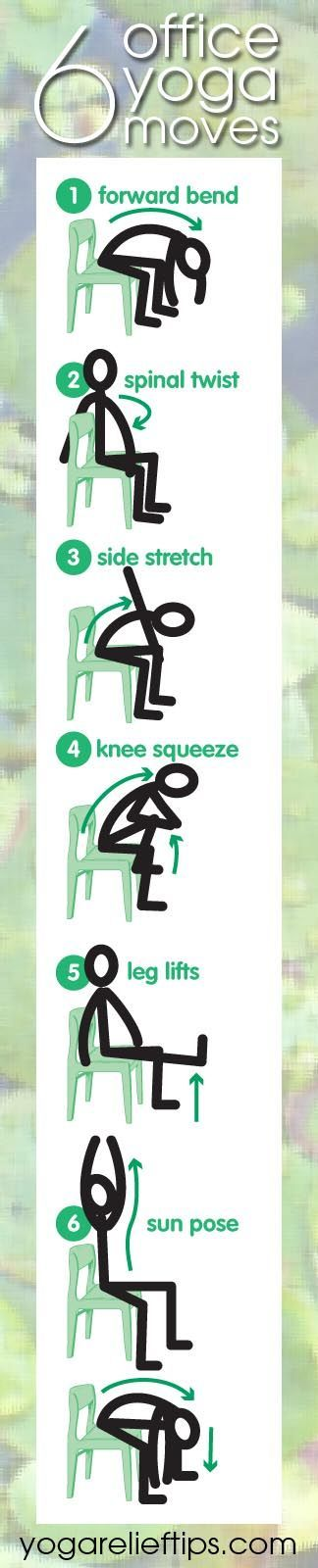 Office Yoga: Easy Chair Yoga Exercises. These would be good to do after a long day to stretch out and catch your breath before heading home.