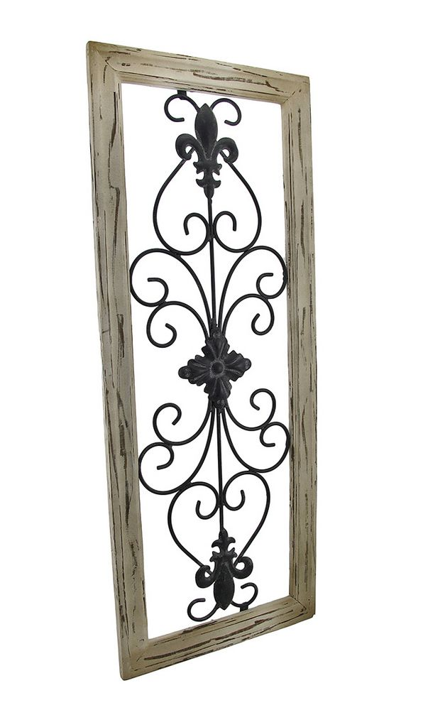 distressed wooden tan frame wrought iron fleur de lis wall decor 30 x 12 in - Wrought Iron Wall Designs