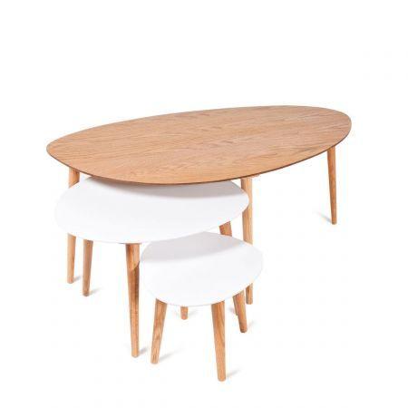 Set 3 tables gigognes bois et couleurs GAYA