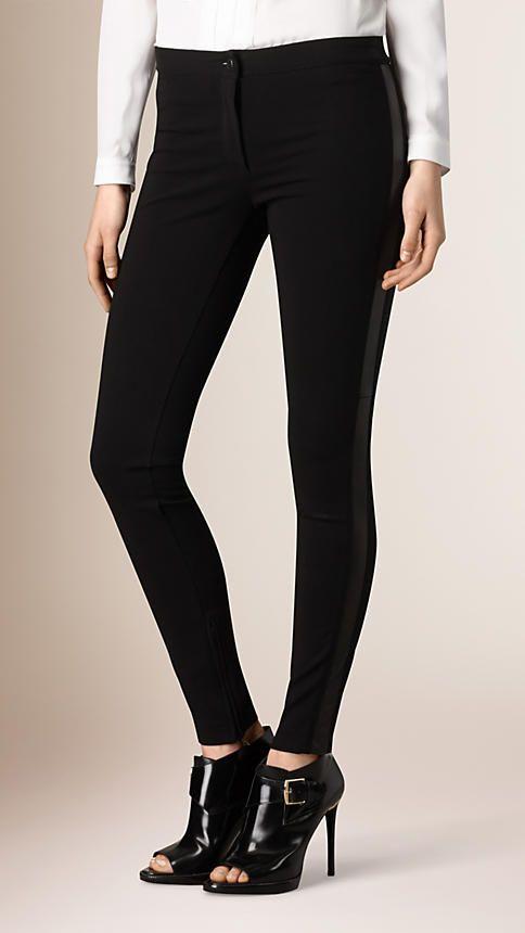 Black Skinny Fit Leather Panel Leggings - Image 1