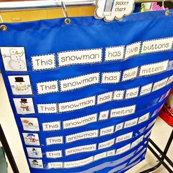 "This great little freebie combines sentence structure and sight word practice for a fun and easy pocket chart center activity. Students simply use the 7 pictures to help them unscramble the 7 mixed-up sentences. Each sentence begins with ""This snowman.""   Extension worksheet included (both in colour and black & white)."