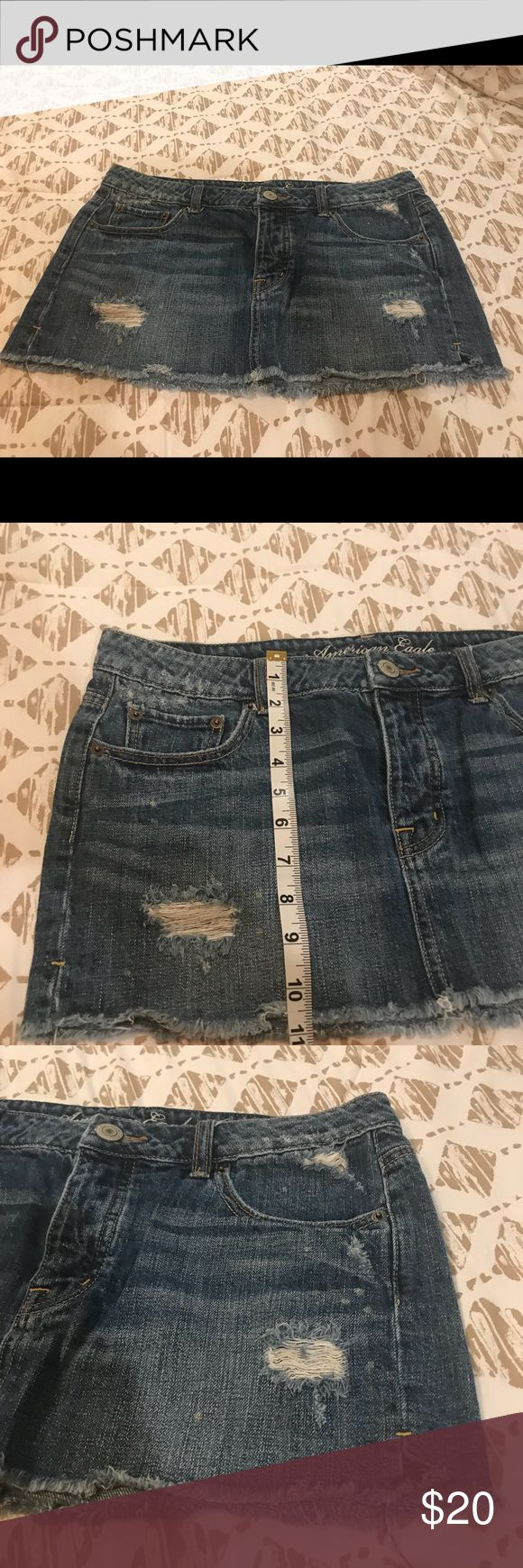 Sexy** Mini Medium Wash Denim Jean Skirt Size 8 Used once in excellent condition Looking for a new home 🏡   Serious fit, comfort, & style. Your skirt has never fit or felt better. Super soft, super comfortable, super you!Curvy booty or straight hips, this skirt hugs every body. Sooo Soft.. Machine Wash   🎀Size Chart Picture Included🎀  🌻NO TRADES🌻 We guarantee 100% authenticity! My main goal is to get repeat businesses. 🌸Reasonable Offers Only🌸 American Eagle Outfitters Skirts Mini