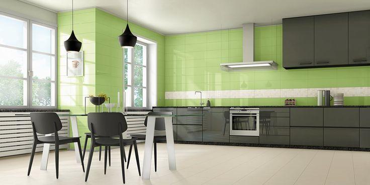 Mustat kalusteet tuovat kontrastia limetinvihreisiin seiniin. Seinälaatat: LPC 21, väri Lima │ Laattapiste
