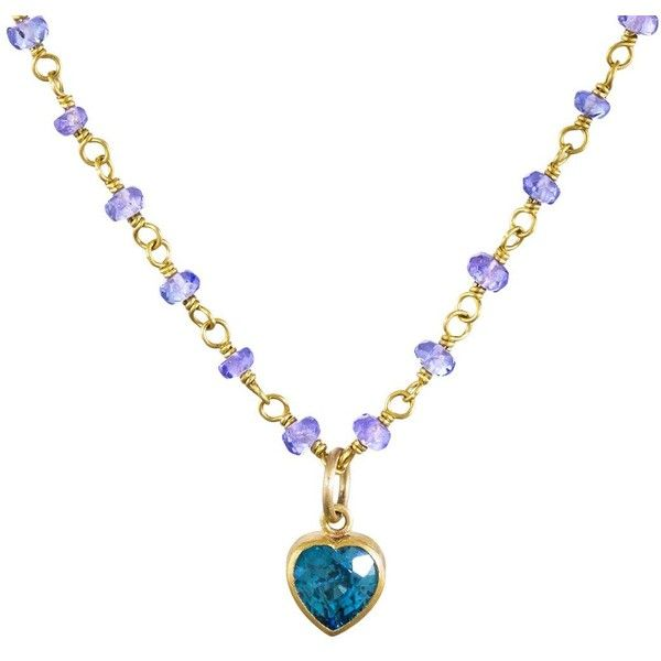 Mallary Marks Blue Zircon Heart Necklace on Tanzanite Beads (3 330 AUD) ❤ liked on Polyvore featuring jewelry, necklaces, heart shaped necklace, bead necklace, zircon necklace, tanzanite jewellery and blue necklace