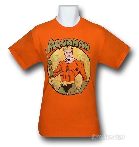 Images of Aquaman Trident Bearing Circle Orange T-Shirt