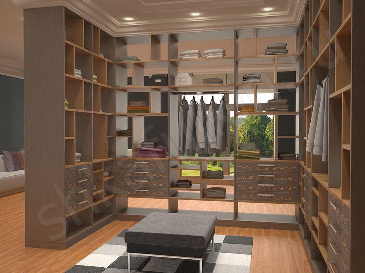 А что если гардеробный шкаф поставить нетрадиционным образом, сэкономив пространство и средства на материалы для возведения стен? На фото представлен вариант, когда из шкафов сооружены стены гардеробной комнаты. При этом задней стенки нет, полки сквозные и через них просматривается сымпровизированное помещение. Смелое решение, необычное и оригинальное! Переодеваться и смотреться в зеркала можно как внутри, так и снаружи гардеробной комнаты.