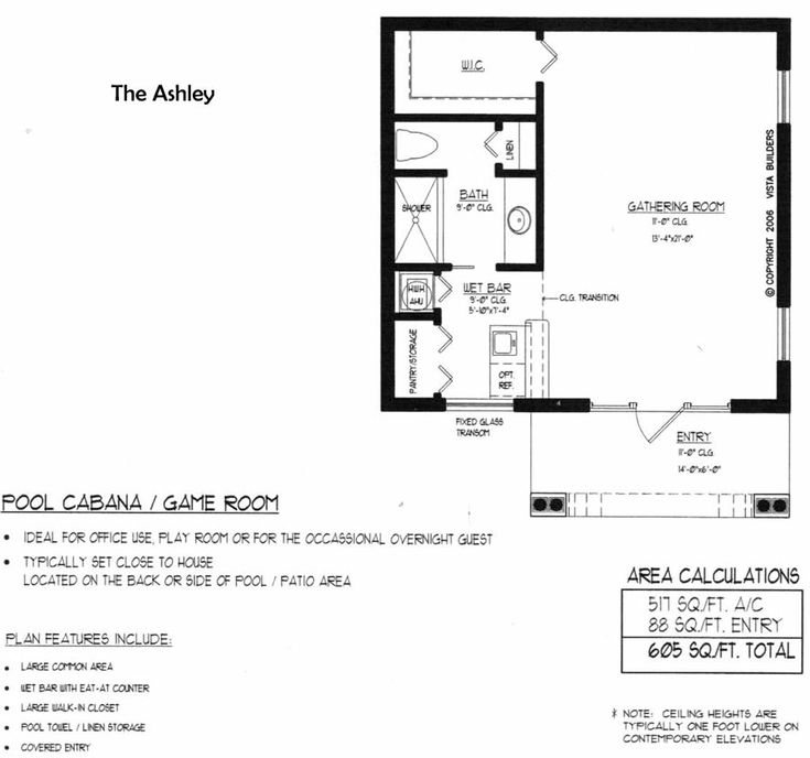 Home Plans With Pool House: Ashley Pool House Floor Plan