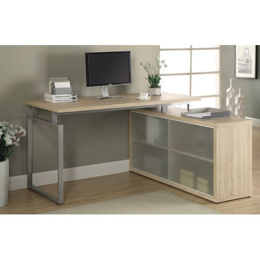 monarch computer desk natural corner with frosted glass beige
