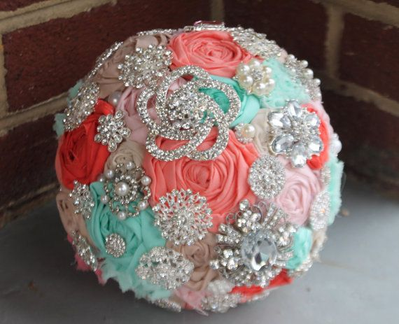 Brooch bouquet. coral turquoise mint heirloom by CraftyFrills