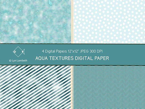 Aqua and teal digital paper, commercial use, scrapbook paper