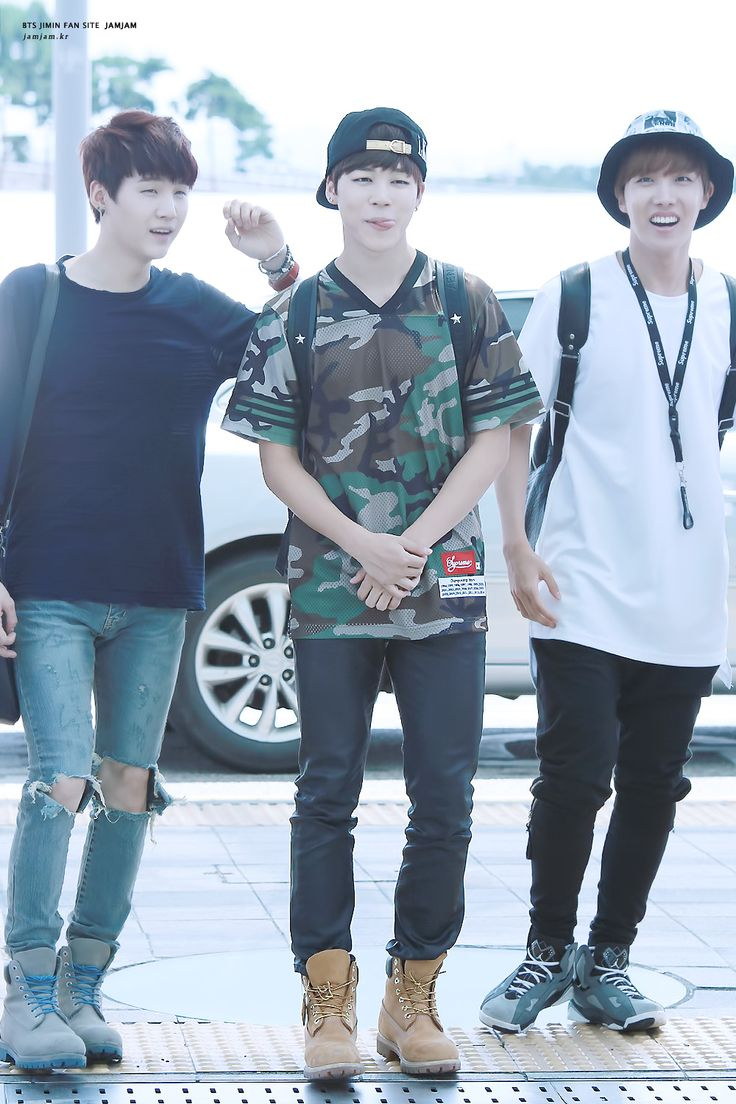 140808 jimins airport fashion and awww jhopes face is