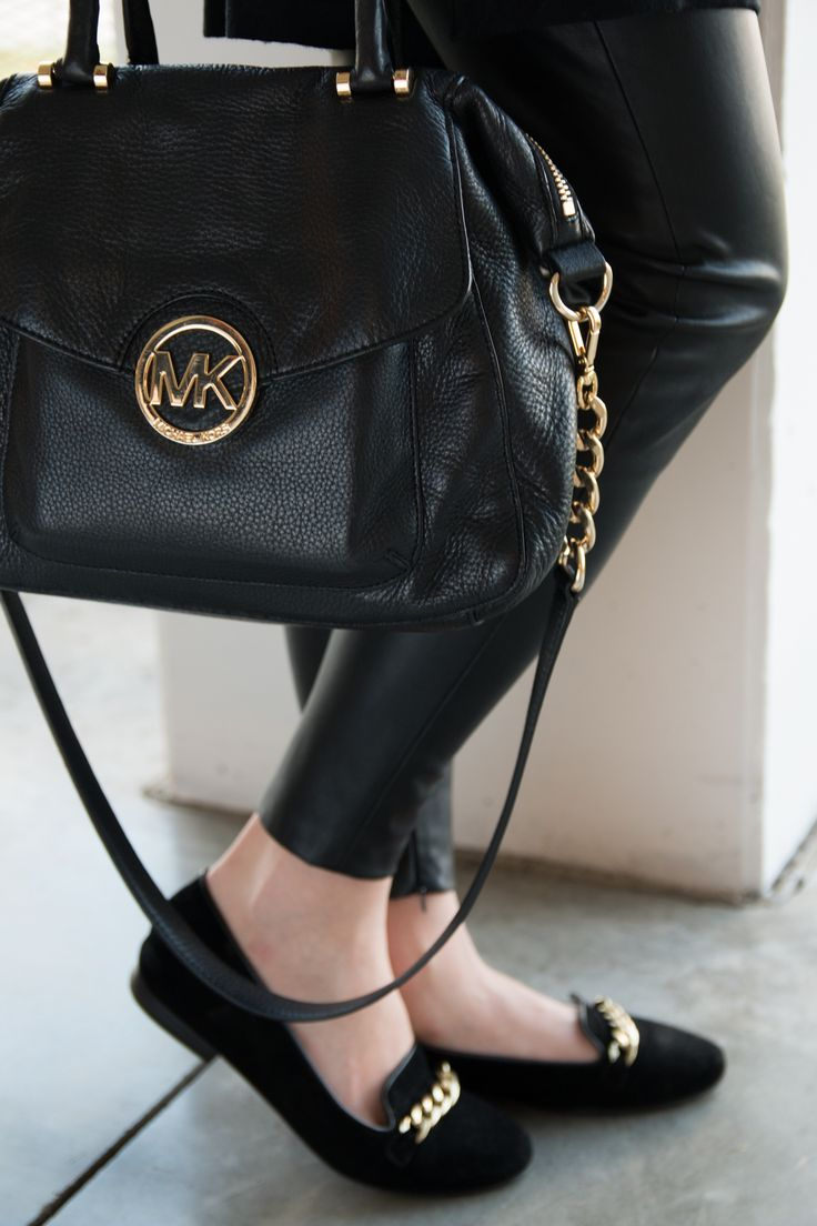 MICHAEL KORS, BLACK, LEATHER, HANDBAG, BAG