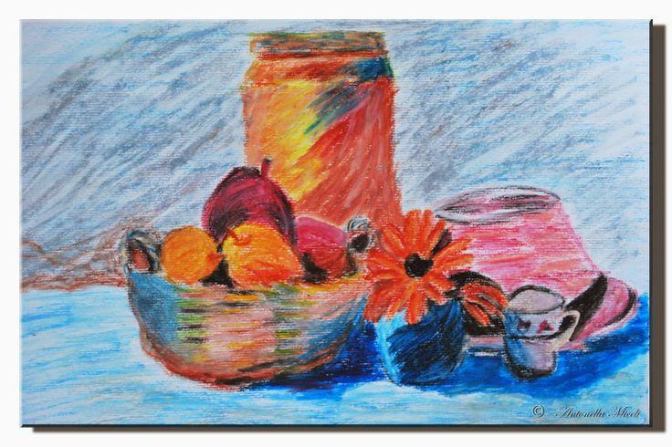 """""""L'Arte e i suoi colori"""": """"Natura morta, con pastelli a olio"""""""