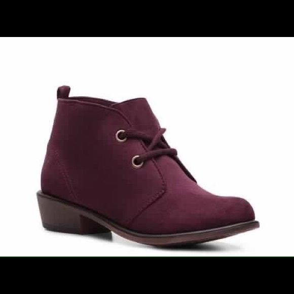 DSW burgundy lace up suede booties! so cute! suede material. burgundy red. size says 9.5 but fits way more like a 10. worn once so there are some signs of wear on soles and barely noticeable scuffs around the toe. still have the original box! DSW Shoes Ankle Boots & Booties