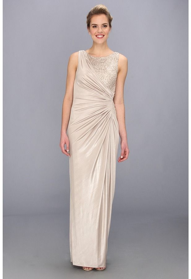 d7133c1ef53f Adrianna Papell Lace Jersey Gown (Champagne) - Apparel on shopstyle.com |  mother of bride dresses | Dresses, Prom dresses, Champagne dress