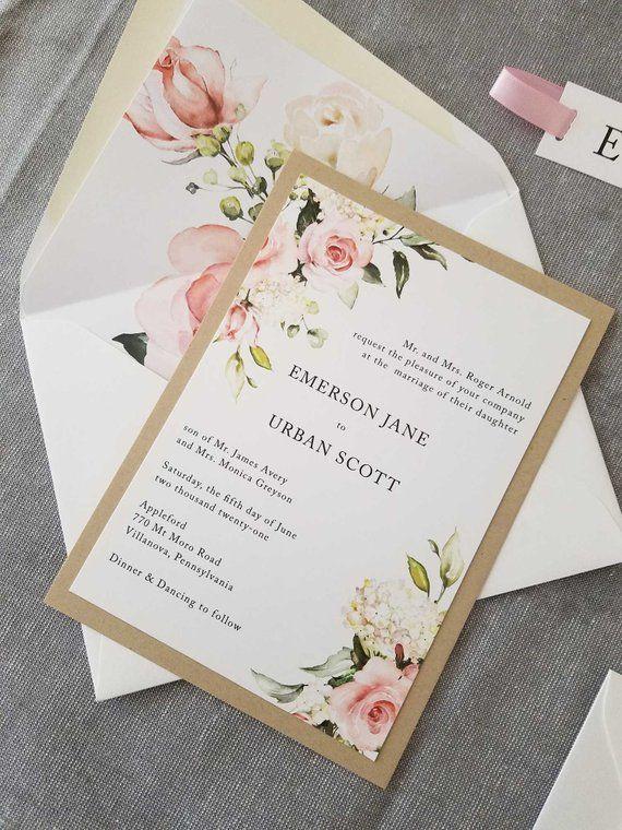 Blush Wedding Invitation Suite Watercolor Wedding Invitation
