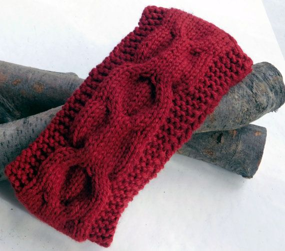 Knit Headband in Burgundy ColorHand Knit by Need4KnitShop on Etsy