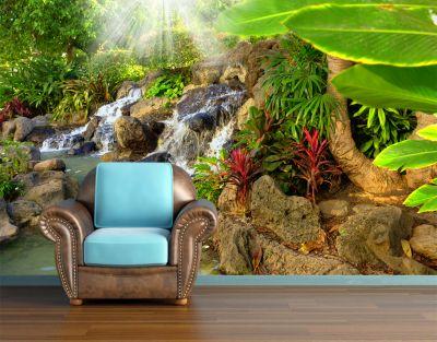 Fototapetul Cascada in natura va aduce un colt verde in casa ta. Vei avea parte de o atmosfera placuta de care te vei bucura in fiecare zi.