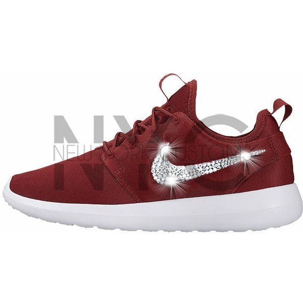 Nike Roshe Two Burgundy Bling Swarovski Crystal Rhinestones Custom... ($130) ❤ liked on Polyvore featuring shoes, sneakers, silver, sneakers & athletic shoes, tie sneakers, women's shoes, burgundy sneakers, rhinestone shoes, rhinestone sneakers and tie shoes