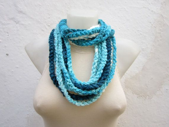 Crochet Scarf infinity Blue White Turquoise Finger by scarfnurlu