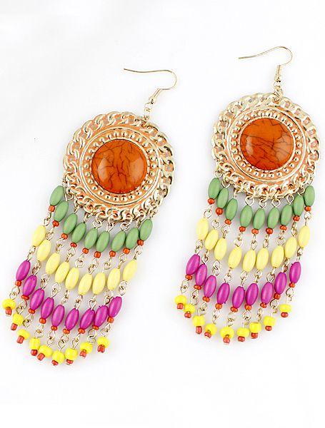 Pendientes flecos aplique perlas de piedra naranja EUR€5.25