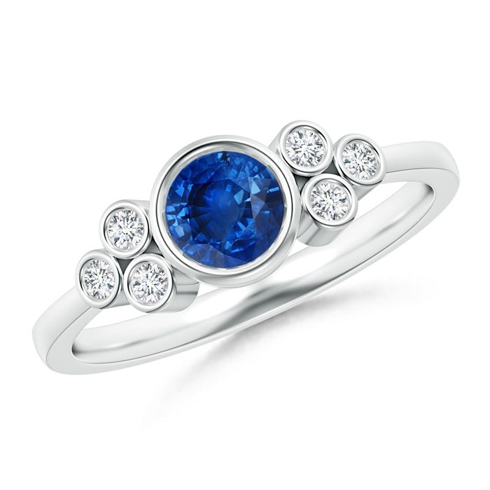 Angara Vintage Round Blue Sapphire Ring with Trio Diamond in 14k Rose Gold nnJkyDlR